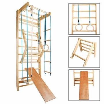 CCLIFE Sprossenwand Turnwand Gym Klettergerüst Holz Sportgerät Kletterwand mit Stange Fitness Kinder Erwachsener, Farbe:DSPWD004A0000blu - 2