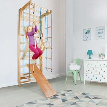 CCLIFE Sprossenwand Turnwand Gym Klettergerüst Holz Sportgerät Kletterwand mit Stange Fitness Kinder Erwachsener, Farbe:DSPWD004A0000blu - 1