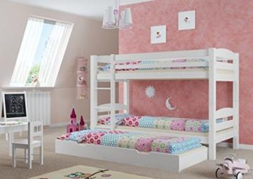Erst-Holz® Etagenbett Kiefer waschweiß 90x200 mit Rollrost Bettkasten Kinderstockbett Hohes Bett 60.10-09WS7 - 2