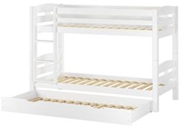 Erst-Holz® Etagenbett Kiefer waschweiß 90x200 mit Rollrost Bettkasten Kinderstockbett Hohes Bett 60.10-09WS7 - 1