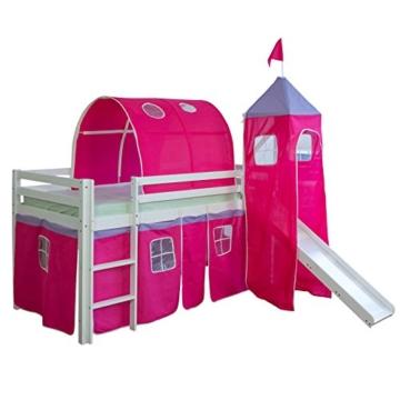 Homestyle4u 1442, Kinder Tunnel Für Hochbett, Pink, Baumwolle, 90 cm Breit - 2