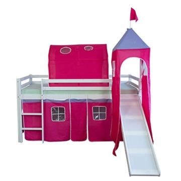Homestyle4u 1442, Kinder Tunnel Für Hochbett, Pink, Baumwolle, 90 cm Breit - 3