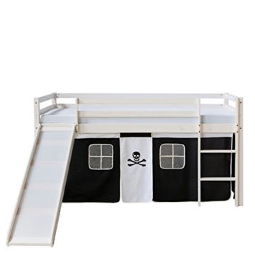 Homestyle4u 1542, Kinder Hochbett Mit Rutsche, Leiter, Vorhang Pirat Schwarz Weiss, Massivholz Kiefer Weiß, 90x200 cm - 3
