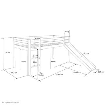 Homestyle4u 1542, Kinder Hochbett Mit Rutsche, Leiter, Vorhang Pirat Schwarz Weiss, Massivholz Kiefer Weiß, 90x200 cm - 6