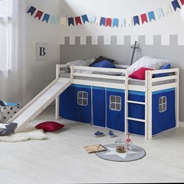 Homestyle4u 1544, Kinder Hochbett Mit Rutsche, Leiter, Vorhang Blau, Massivholz Kiefer Weiß, 90x200 cm - 2