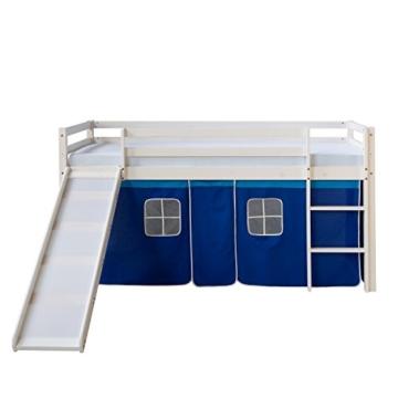 Homestyle4u 1544, Kinder Hochbett Mit Rutsche, Leiter, Vorhang Blau, Massivholz Kiefer Weiß, 90x200 cm - 3