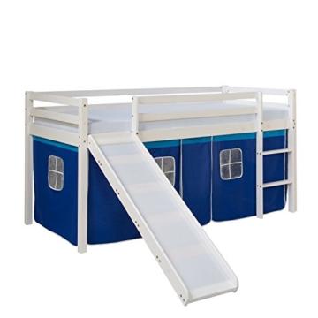 Homestyle4u 1544, Kinder Hochbett Mit Rutsche, Leiter, Vorhang Blau, Massivholz Kiefer Weiß, 90x200 cm - 1