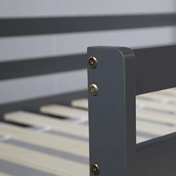Homestyle4u 1862, Kinderbett 90x200 Grau, Hochbett mit Rutsche, Holz Kiefer - 4