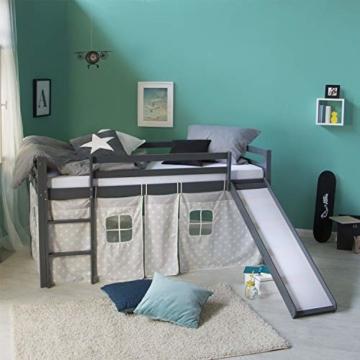 Homestyle4u 1871, Kinderbett 90x200 Grau, Hochbett mit Rutsche, Sternen Vorhang, Holz - 2