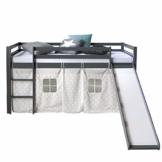 Homestyle4u 1871, Kinderbett 90x200 Grau, Hochbett mit Rutsche, Sternen Vorhang, Holz - 1