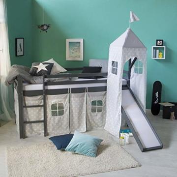 Homestyle4u 1873, Kinderbett 90x200 Grau, Hochbett mit Rutsche Turm, Sternen Vorhang - 2
