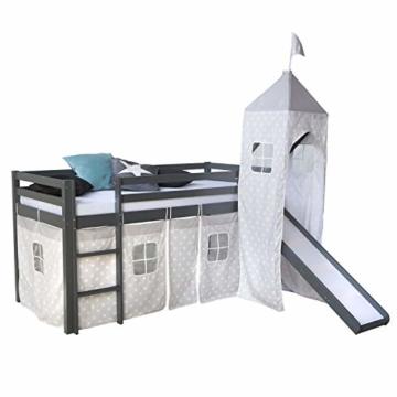 Homestyle4u 1873, Kinderbett 90x200 Grau, Hochbett mit Rutsche Turm, Sternen Vorhang - 3