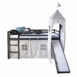Homestyle4u 1873, Kinderbett 90x200 Grau, Hochbett mit Rutsche Turm, Sternen Vorhang - 1