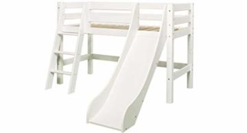 Hoppekids PREMIUM Kiefer massiv inklusiv Lattenrost, schräg Leiter und Rutsche, Holz, Weiß, Single, 169 x 114 x 177 cm - 10