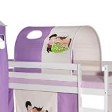 IDIMEX Tunnel für Hochbett Pony Rutschbett Spielbett Kinderbett in lila/beige Pferdemotiv - 1