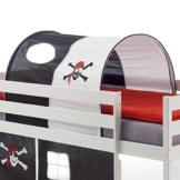 IDIMEX Tunnel MAX für Hochbett Rutschbett Spielbett Kinderbett, in schwarz/weiß Pirat - 1