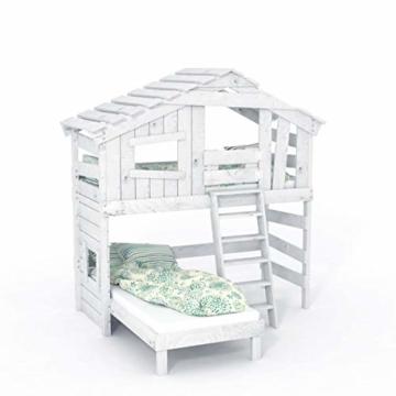 Kinderbett, Hochbett, Doppelbett, Etagenbett, Spielhaus, Spielbett in matt mild-Weiss, Massive Kiefer, Ober- und Unterbett (mit Türchen) - 2