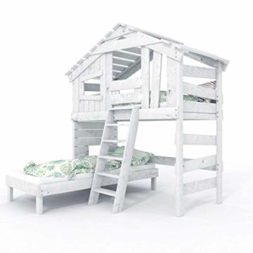 Kinderbett, Hochbett, Doppelbett, Etagenbett, Spielhaus, Spielbett in matt mild-Weiss, Massive Kiefer, Ober- und Unterbett (mit Türchen) - 3