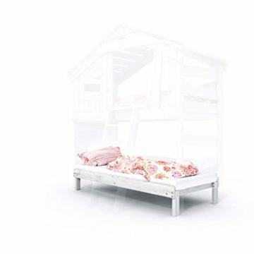 Kinderbett, Hochbett, Doppelbett, Etagenbett, Spielhaus, Spielbett in matt mild-Weiss, Massive Kiefer, Ober- und Unterbett (mit Türchen) - 6