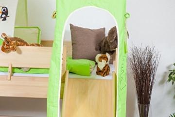 Kinderbett/Hochbett Tom mit Rutsche und Turm inkl. Rollrost - Material: Buche massiv natur, Farbe: klar lackiert - 2