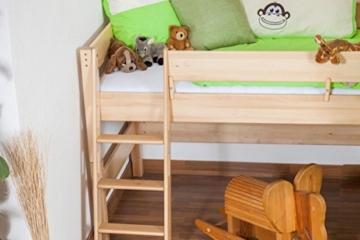 Kinderbett/Hochbett Tom mit Rutsche und Turm inkl. Rollrost - Material: Buche massiv natur, Farbe: klar lackiert - 4