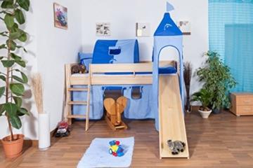 Kinderbett/Hochbett Tom mit Rutsche und Turm inkl. Rollrost - Material: Buche massiv natur, Farbe: klar lackiert - 1