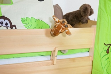 Kinderbett/Hochbett Tom mit Rutsche und Turm inkl. Rollrost - Material: Buche massiv natur, Farbe: klar lackiert - 5