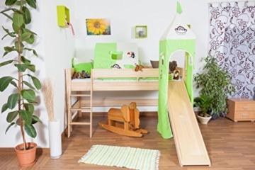 Kinderbett/Hochbett Tom mit Rutsche und Turm inkl. Rollrost - Material: Buche massiv natur, Farbe: klar lackiert - 6
