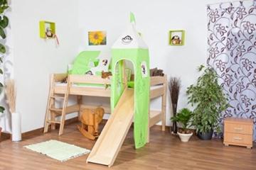 Kinderbett/Hochbett Tom mit Rutsche und Turm inkl. Rollrost - Material: Buche massiv natur, Farbe: klar lackiert - 7