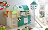 lifestyle4living Hochbett für Kinder in grün-weiß-braun mit Rutsche, Turm und Vorhang im Fussball Motiv | Spielbett aus Kiefer Massivholz mit Einer Liegefläche 90x200 - 1