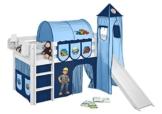 Lilokids Set Angebot - Spielbett JELLE Bob der Baumeister mit Rutsche - Hochbett Weiß - mit Vorhang, Turm, Tunnel und Taschen - 1