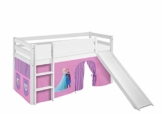 Lilokids Spielbett Jelle Eiskönigin, Hochbett mit Rutsche und Vorhang Kinderbett, Holz, lila, 198 x 98 x 113 cm - 1