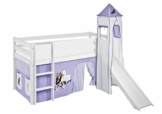 Lilokids Spielbett JELLE Pferde Lila Beige - Hochbett weiß - mit Turm, Rutsche und Vorhang - 1