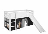Lilokids Spielbett Jelle Star Wars, Hochbett mit Rutsche und Vorhang Kinderbett, Holz, schwarz, 208 x 98 x 113 cm - 1