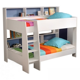 Möbel Akut Etagenbett Tam Tam Hochbett Kinderzimmer Doppelstockbett Rückwand blau oder pink - 1