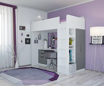 Polini Kids Kinder Etagenbett Hochbett mit Kleiderschrank Schreibtisch, 1447.55 - 2