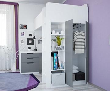 Polini Kids Kinder Etagenbett Hochbett mit Kleiderschrank Schreibtisch, 1447.55 - 3