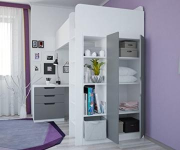 Polini Kids Kinder Etagenbett Hochbett mit Kleiderschrank Schreibtisch, 1447.55 - 4