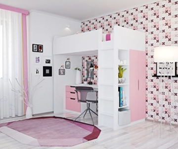 Polini Kids Kinder Etagenbett Hochbett mit Kleiderschrank Schreibtisch,1447.21 - 2