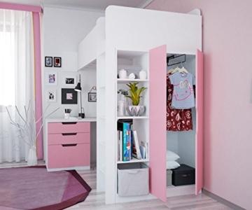 Polini Kids Kinder Etagenbett Hochbett mit Kleiderschrank Schreibtisch,1447.21 - 3