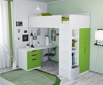 Polini Kids Kinder Etagenbett Hochbett mit Kleiderschrank Schreibtisch,1447.6 - 1