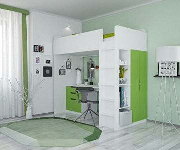 Polini Kids Kinder Etagenbett Hochbett mit Kleiderschrank Schreibtisch,1447.6 - 2
