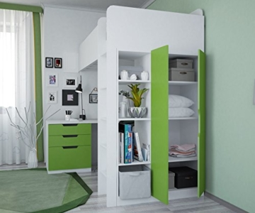 Polini Kids Kinder Etagenbett Hochbett mit Kleiderschrank Schreibtisch,1447.6 - 3
