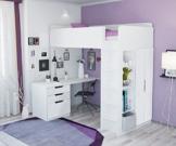 Polini Kids Kinder Etagenbett Hochbett mit Kleiderschrank und Schreibtisch - 1