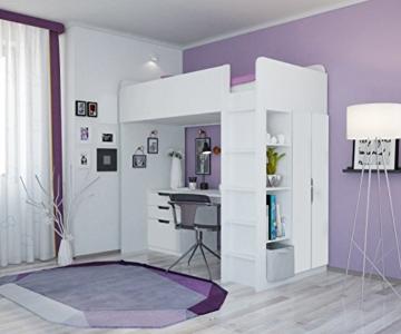 Polini Kids Kinder Etagenbett Hochbett mit Kleiderschrank und Schreibtisch - 2