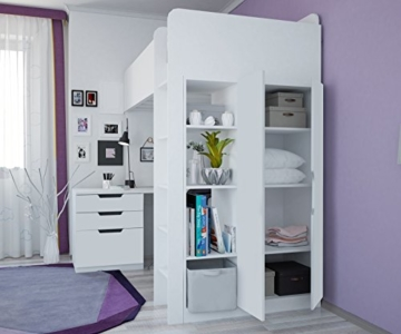 Polini Kids Kinder Etagenbett Hochbett mit Kleiderschrank und Schreibtisch - 3