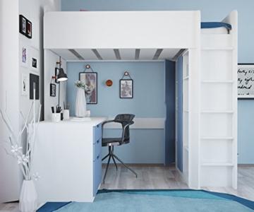 Polini Kids Kinder Etagenbett Hochbett mit Kleiderschrank und Schreibtisch - 5