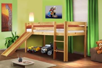 SixBros. Hochbett Kinderbett Spielbett mit Rutsche Massiv Kiefer Natur - SHB/1033 - 1