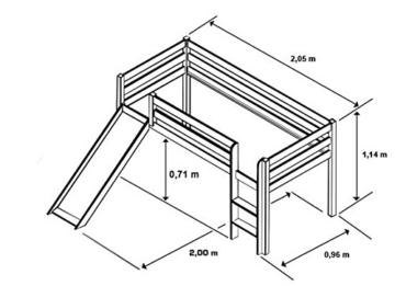 SixBros. Hochbett Kinderbett Spielbett mit Rutsche Massiv Kiefer Natur - SHB/1033 - 2