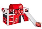 Spielbett JELLE 90 x 190 cm Disney Cars - Hochbett LILOKIDS - weiß - mit Rutsche und Vorhang - 1
